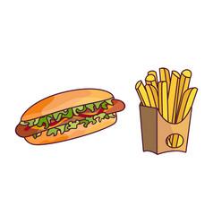 potato fry hot dog cartoon set isolated vector image