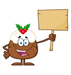 Pudding holding up a blank wood sign vector