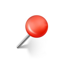 red push pins with shadow realistic office push vector image