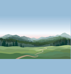 rural landscape mountains hills fields nature vector image