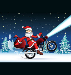 santa bike new year card vector image