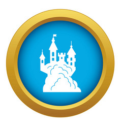 scary halloween castle icon blue isolated vector image