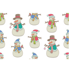 seamless pattern with snowmen vector image
