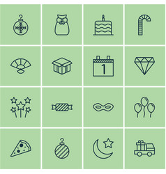 Set 16 christmas icons includes agenda vector