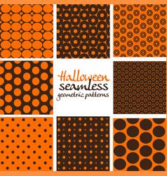 set brown and orange halloween seamless vector image