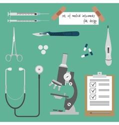 Set medical instruments vector