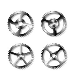 set of realistic metal gears vector image