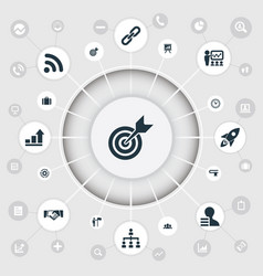 set of simple strategy icons vector image