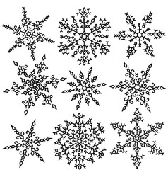 set of snowflakes holiday collection black and vector image