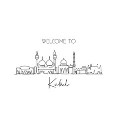 Single continuous line drawing kabul city vector
