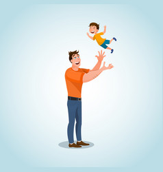 smiling father character playing with little son vector image