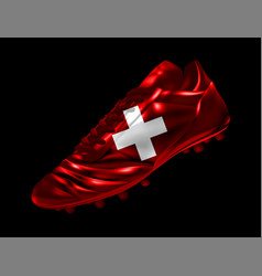 soccer football boot with the flag of switzerland vector image