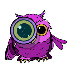 Stock owl looks through a magnifying glass vector