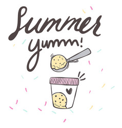 Summer yum ice cream box background image vector
