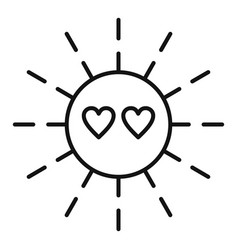 Sun love affection icon outline style vector