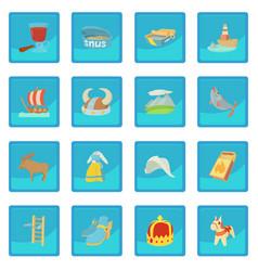 Sweden travel symbols icon blue app vector