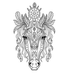 Tangle horse coloring book page for adult vector