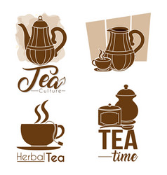 tea collection elements vector image