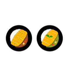 top view tonkatsu or curry rice with fried pork vector image