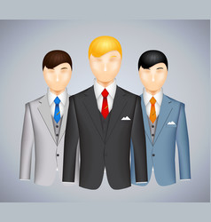 Trio of businessmen in suits vector