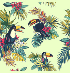 Tropical floral summer seamless pattern with palm vector