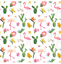 Tropical seamless flamingo summer pattern vector