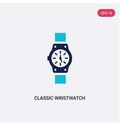 Two color classic wristwatch icon from general vector