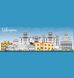 udaipur skyline with color buildings and blue sky vector image
