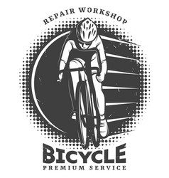 Vintage bike repair workshop logotype template vector