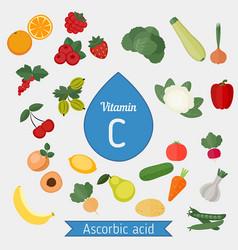 Vitamin c or ascorbic acid vitamin c or ascorbic vector