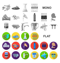 water filtration system flat icons in set vector image