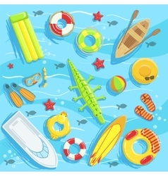 Water Toys And Other Objects From Above vector image