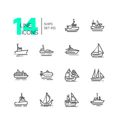 Water transport - thin line design icons set vector
