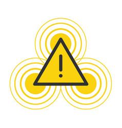 Yellow flashing hazard warning attention sign vector