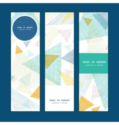 abstract fabric triangles vertical banners set vector image vector image