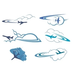 Airplanes flying in the cloudy sky vector image vector image