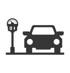 Car with Parking Meter Icon on White Background vector image vector image