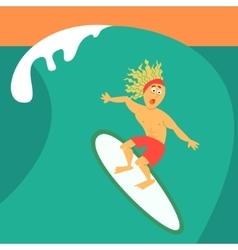 Cartoon guy surfing on his surfboard vector image