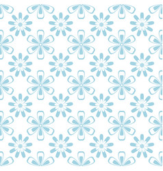 floral seamless pattern blue and white ornament vector image