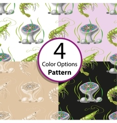 Four seamless pattern with shrimp and jellyfish vector image vector image