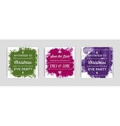 Set of Bright Watercolor Invitations in vector image vector image