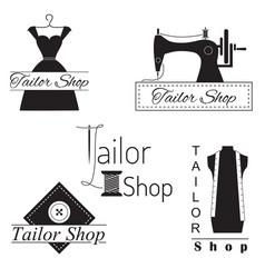 set of tailoring labels badges and emblems on vector image