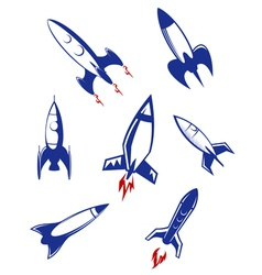 Space rockets and military missiles set vector