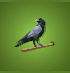 Black raven bird in low polygon art vector