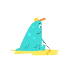 Drawing On Sand Monster The Beach vector image vector image