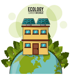 ecology green world house solar panel forest vector image