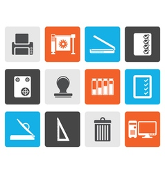 Flat Print industry Icons vector image