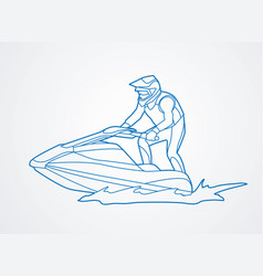 jet ski action sport man riding water scooter vector image