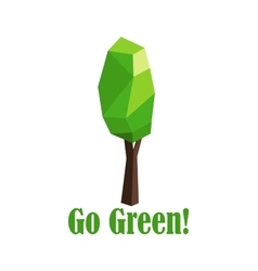 Polygonal green tree with elongated crown vector image