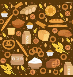 bakery products seamless pattern with bread loaf vector image